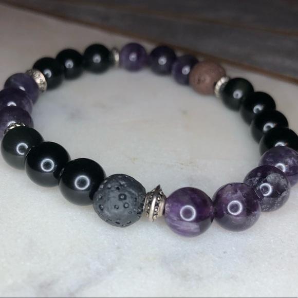 Jewelry - Healing bracelet Amethyst Black Obsidian Lava bead